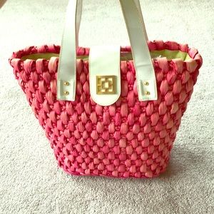 Handbags - Pink straw and white patent leather beach bag